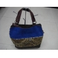 Fashionable leopard blue PU leather cheap women's handbags 9c8n05