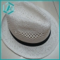 men's black classical design straw hat with black belt around