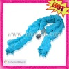 Wavy Blinking Paillette Beautiful Plain Crepon Silk Scarf with Sequin